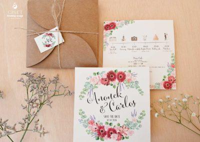 giset wedding invitaciones de boda, Invitaciones rústicas con flores en acuarela y cajita kraft