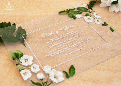 giset wedding invitaciones de boda personalizadas invitaciones de boda transparentes metacrilato flores blancas