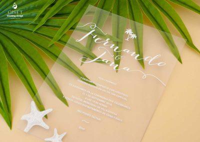 giset wedding invitaciones de boda personalizadas invitaciones de boda transparentes metacrilato playa