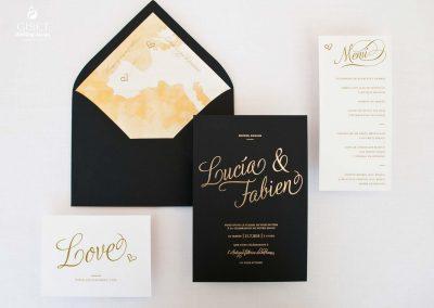 giset wedding invitaciones de boda personalizadas_invitacion de boda con oro negra