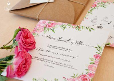 giset wedding invitaciones de boda personalizadas_invitacion kraft con flores
