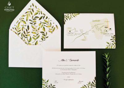 giset wedding invitaciones de boda personalizadas_invitaciones de boda clasicas con hojas en acuarela