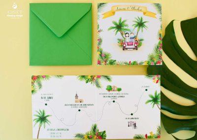 giset wedding invitaciones de boda personalizadas_invitaciones de boda con flores tropicales