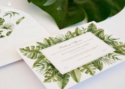 giset wedding invitaciones de boda personalizadas_invitaciones de boda con hojas tropicales