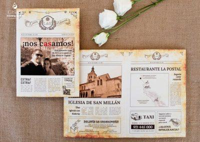 giset wedding invitaciones de boda personalizadas_invitaciones periodico