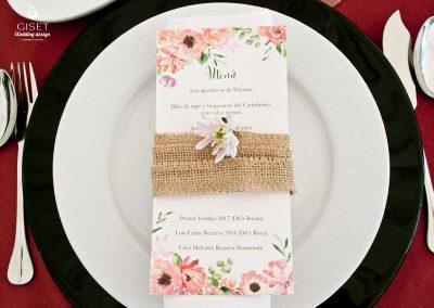 giset wedding menu de boda personalizado