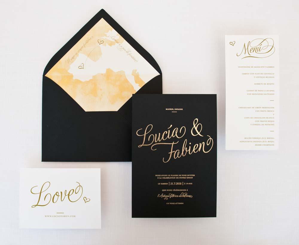 giset wedding papeleria de boda personalizadas invitacion de boda con oro negra