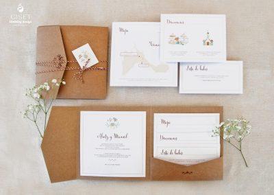 giset wedding invitaciones de boda personalizadas kraft en carpeta