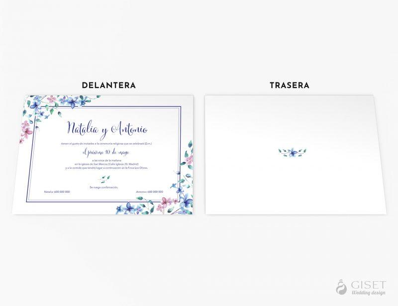 invitaciones de boda con flores de acuarela azules y rosas giset smart wedding