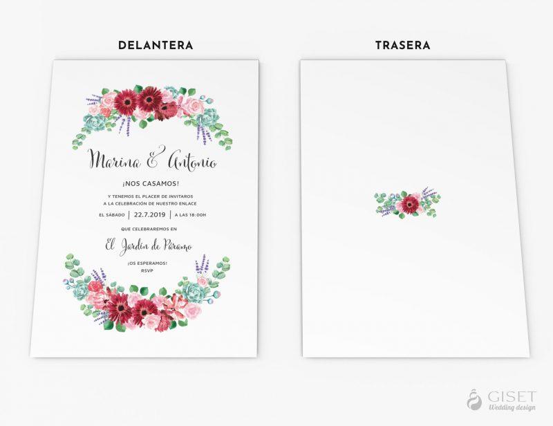 invitaciones de boda con corona de flores giset wedding