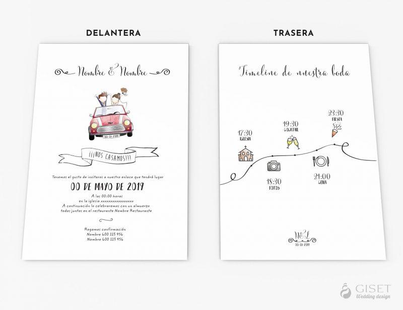 invitaciones de boda con dibujo de novios giset wedding