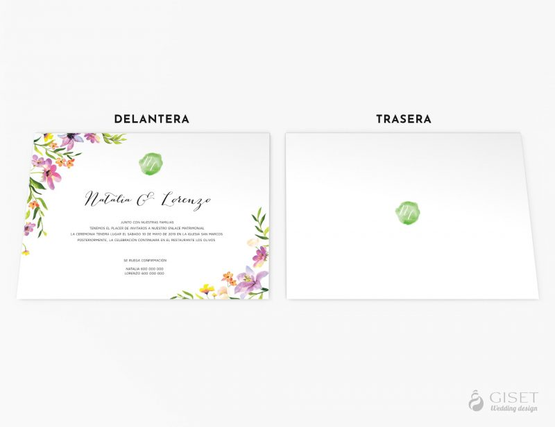invitaciones de boda con flores acuarela giset wedding