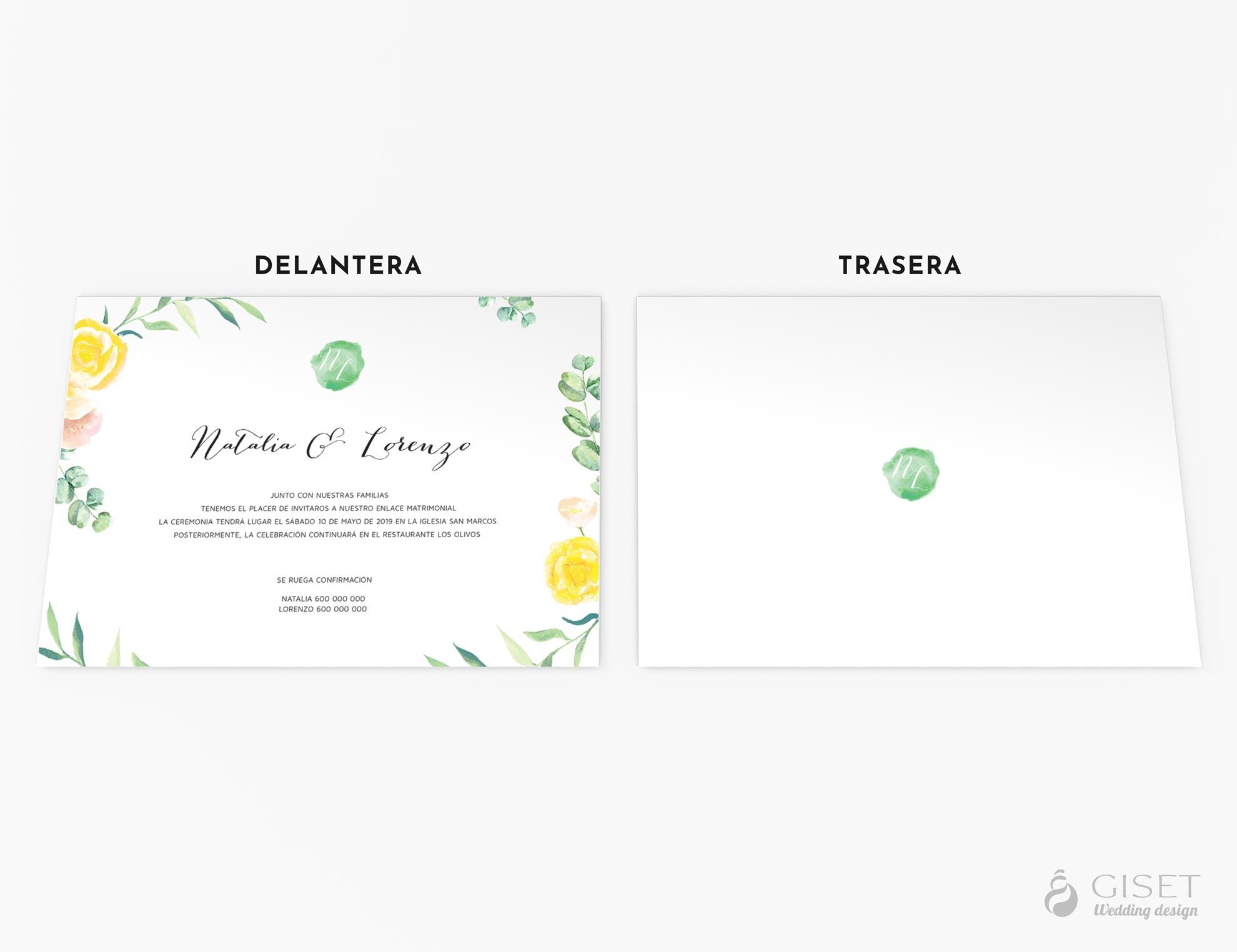 invitaciones de boda con flores en acuarela giset wedding
