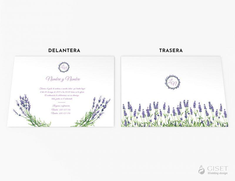 invitaciones de boda con flores lavanda giset wedding