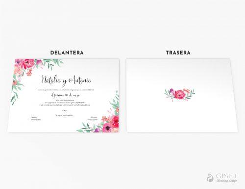 invitaciones de boda con flores rosas giset wedding