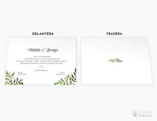 invitaciones de boda con hojas giset wedding