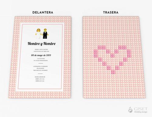 invitaciones de boda con lego giset wedding