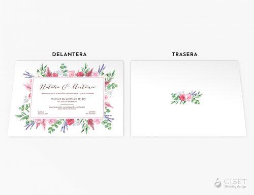 invitaciones de boda con marco de flores giset wedding