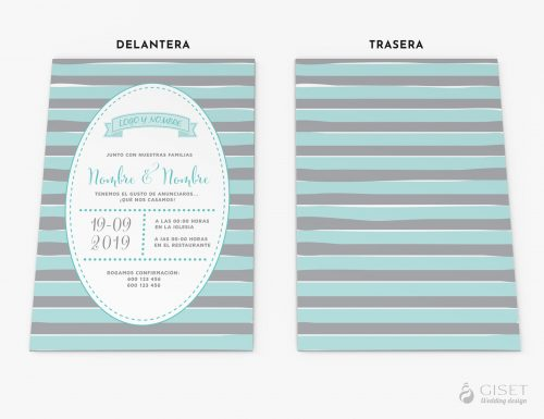 invitaciones de boda con rayas giset wedding
