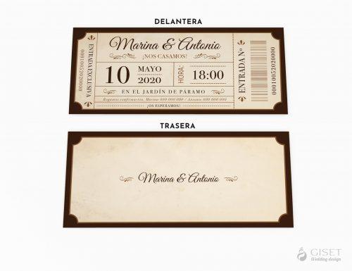 invitaciones de boda entrada cine vintage giset wedding
