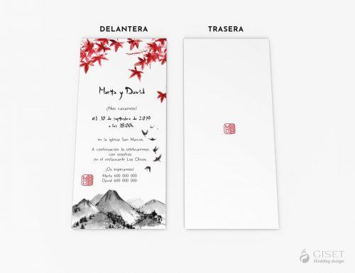 invitaciones de boda estilo japones sumi-e giset wedding