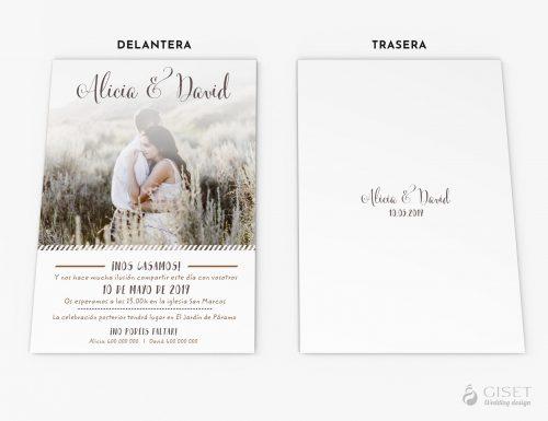invitaciones de boda modernas con foto giset wedding