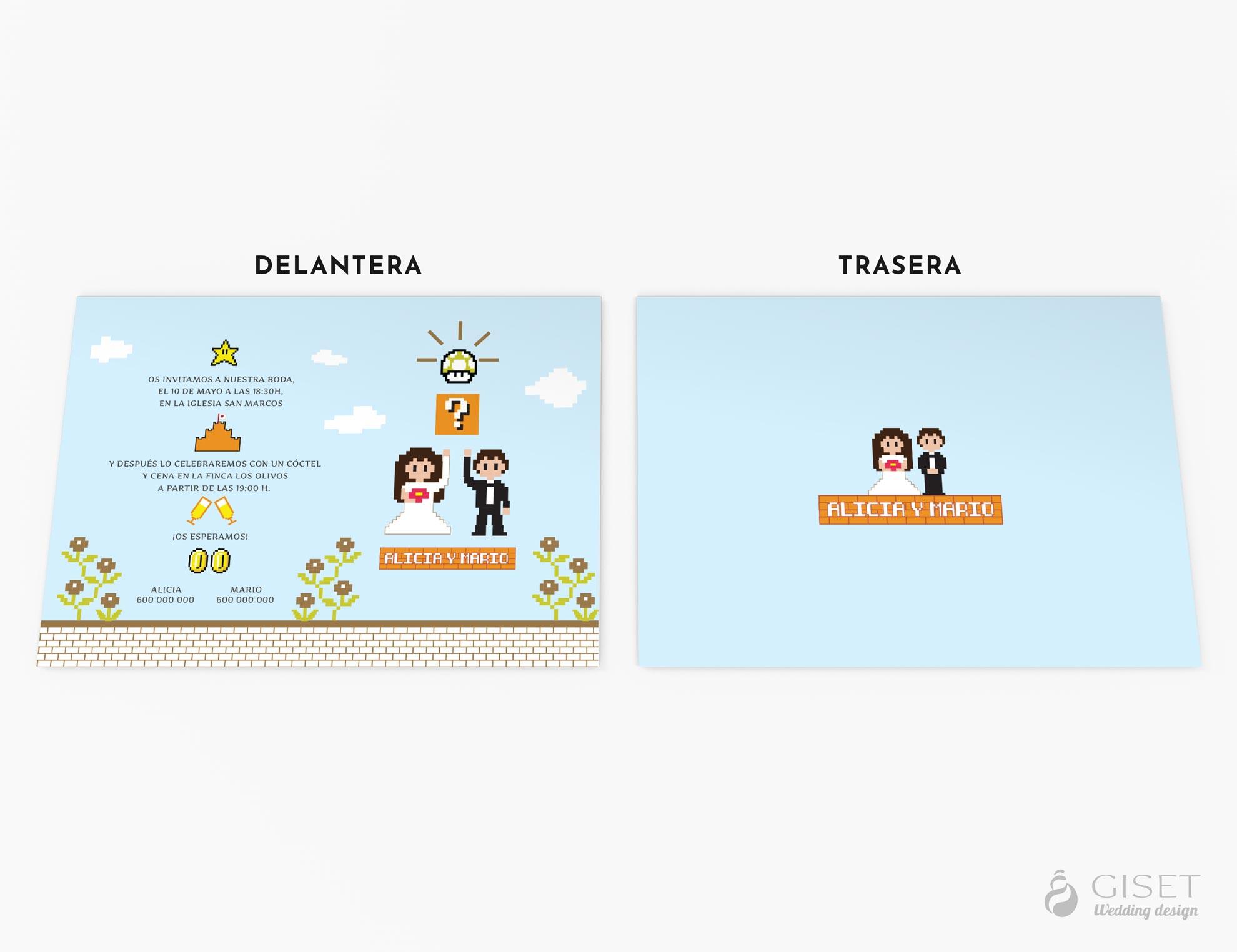 invitaciones de boda tematicas videoguegos super mario 8-bit giset wedding