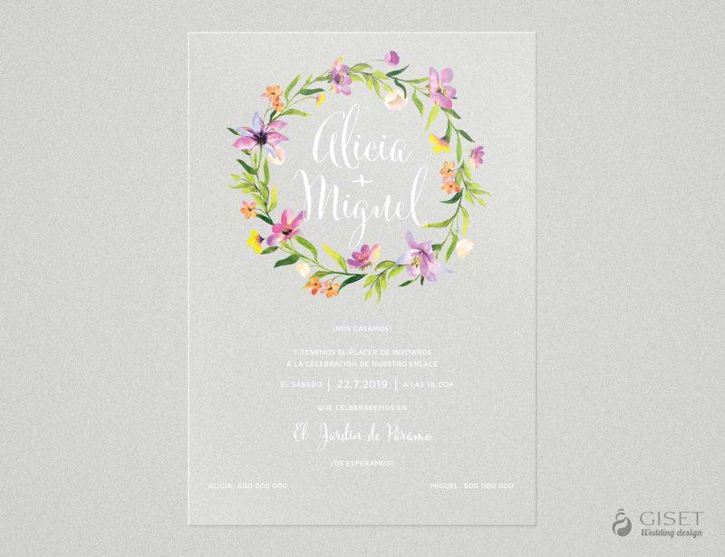 invitaciones de boda transparentes con corona de flores en acuarela Giset Wedding
