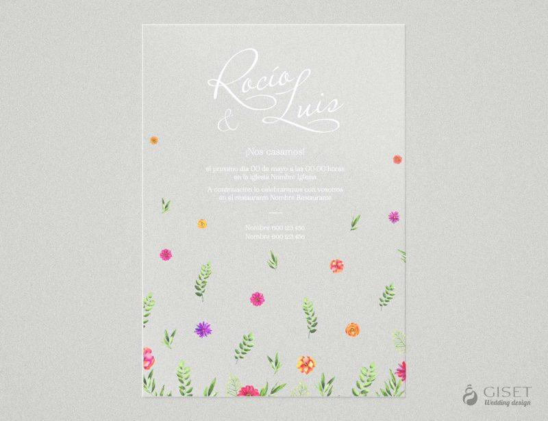 invitaciones de boda transparentes con flores Giset Wedding