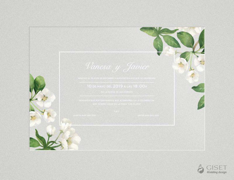 invitaciones de boda transparentes con flores blancas en acuarela Giset Wedding
