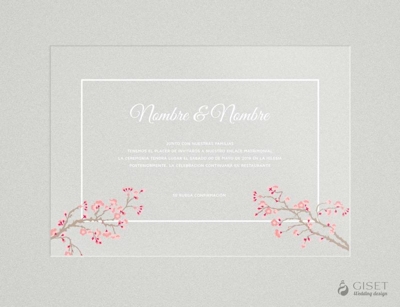 invitaciones de boda transparentes con flores de sakura Giset Wedding