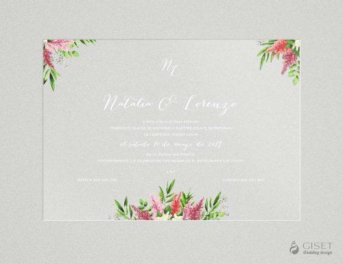 invitaciones de boda transparentes con flores en acuarela Giset Wedding 78