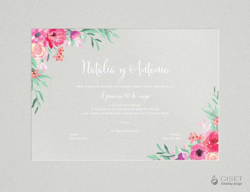 invitaciones de boda transparentes con flores en acuarela Giset Wedding