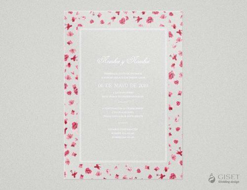 invitaciones de boda transparentes con flores rosas Giset Wedding