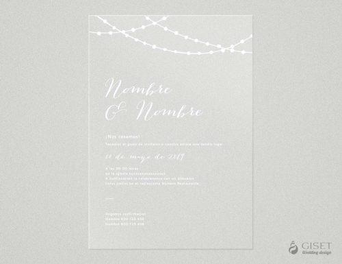 invitaciones de boda transparentes con guirnaldas de luces Giset Wedding