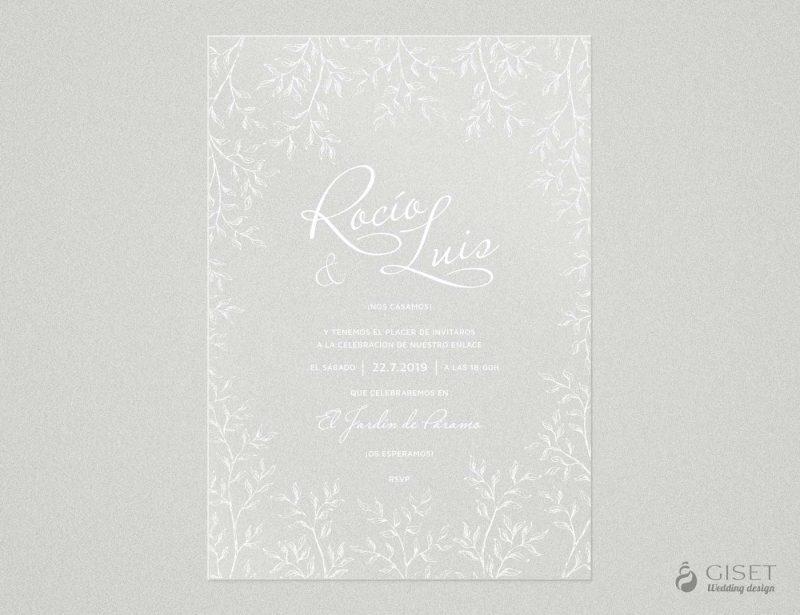 invitaciones de boda transparentes con hojas Giset Wedding