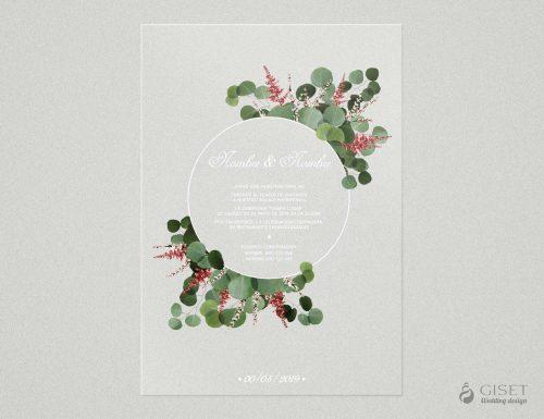 invitaciones de boda transparentes con hojas de eucalipto Giset Wedding