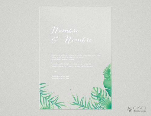 invitaciones de boda transparentes con hojas tropicales Giset Wedding