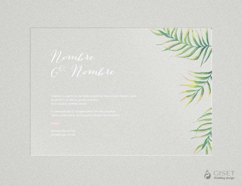 Invitaciones de boda transparentes con hojas tropical