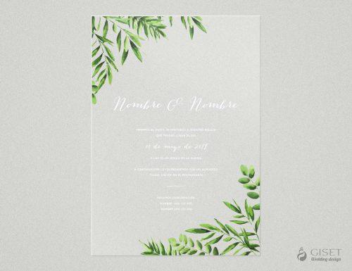 invitaciones de boda transparentes con hojas verdes Giset Wedding