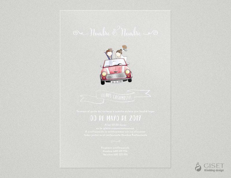 invitaciones de boda transparentes con ilustracion de novios Giset Wedding