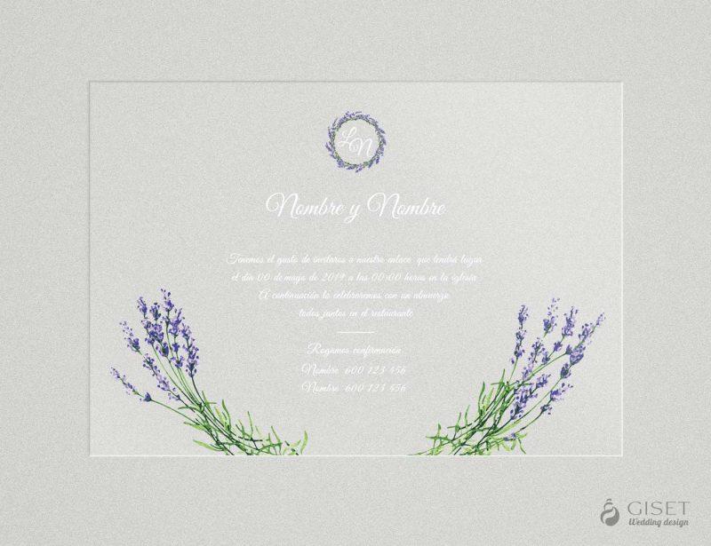 invitaciones de boda transparentes con lavanda Giset Wedding