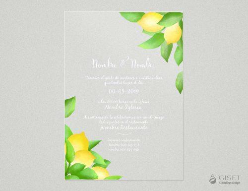 invitaciones de boda transparentes con limones Giset Wedding
