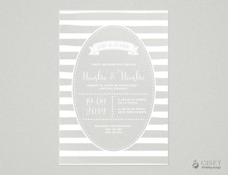 invitaciones de boda transparentes con rayas Giset Wedding