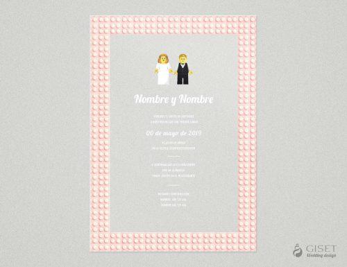 invitaciones de boda transparentes estilo lego Giset Wedding