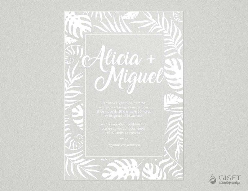 invitaciones de boda transparentes estilo tropical Giset Wedding
