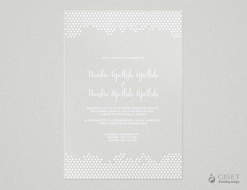 invitaciones de boda transparentes sencillas con estampado de lunares Giset Wedding