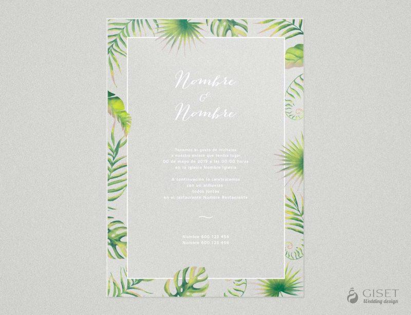 invitaciones de boda transparentes tropicales Giset Wedding