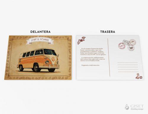 invitaciones de boda vintage con furgoneta tipo postal giset wedding