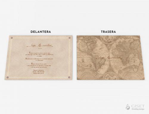 invitaciones de boda vintage viejeras con mapamundi giset wedding